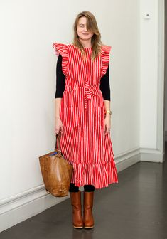 """Hanni, 28    """"Marimekko's Mari-essu dress makes me happy. The bag is from the 70s and my mother's old, the shoes are Swedish Hasbeens.  I like playful and colourful clothes. Vintage Vuokko and Marimekko dresses from the 60s and the 70s are my treasures."""""""