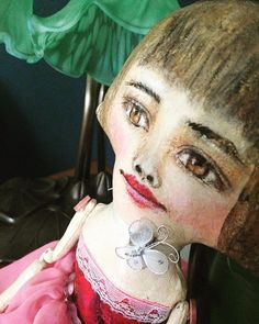 Loved using decoupage on the bodice here. It's the small details. #dollmaker #clothdoll #vintagestyle #doll
