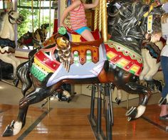 Columbus Zoo Carousel Illions Outside Row Jumper With Eagle Cantle.