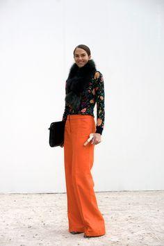 Adore the ORANGE pants.  Habitually Chic: Chic on the Street: JJ Martin