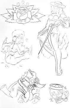 SAILOR JERRYS TATTOO STENCILS BOOK 2 - Sourpuss Clothing Paul The Alien, Tradional Tattoo, Sourpuss Clothing, Sailor Jerry, Tattoo Stencils, Body Art Tattoos, Books, Clothes, Art Art
