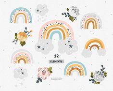 Rainbow clipart Rainbow svg Rainbow Baby shower Flower svg Vector Rainbow clip art set Flower clipart Commercial use Flower Svg, Flower Clipart, Baby Shower Clipart, Rainbow Clipart, Pattern Baby, Baby Shower Flowers, Vector Clipart, Rainbow Baby, Things That Bounce
