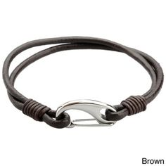 @Overstock - Stainless Steel and Leather Men's 8-inch Bracelet - This fashion-forward bracelet for men showcases a stainless steel lobster claw clasp on a black or brown leather cord. This bracelet measures 8 inches long and is doubled up for a rugged yet trendy look.  http://www.overstock.com/Jewelry-Watches/Stainless-Steel-and-Leather-Mens-8-inch-Bracelet/8176670/product.html?CID=214117 COP              39599.39