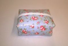 Oilcloth make up bag, box style, pale blue floral pattern, facial wipes holder £4.99