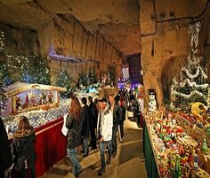 This is a picture of Christmas Town - Valkenburg aan de Geul, Netherlands ... a very unusual Christmas Market held throughout a municipal cave system