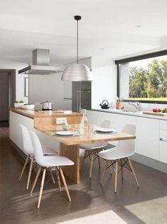 Kitchen Room Design, Kitchen Interior, New Kitchen, Kitchen Decor, Kitchen Ideas, Kitchen Designs, Kitchen Island Dining Table, Kitchen Island With Seating, Kitchen Islands