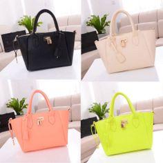 Womens Celebrity Candy PU Leather Tote Handbag Lock Shoulder Satchel Bag | eBay