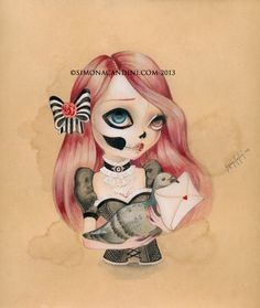 Love Letter From The Other Side LIMITED EDITION print signed numbered Simona Candini Art lowbrow pop surreal big eyes skull gothic on Etsy, $30.00