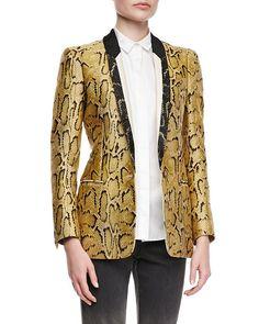 de0f83e6fe Stella McCartney One-Button Snake-Print Blazer