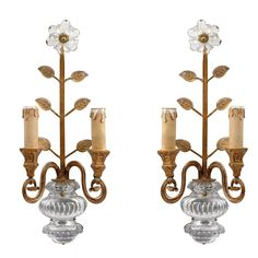 Pair of French Baguès Style Gilt Metal and Glass Wall Lights, circa 1940 | From a unique collection of antique and modern wall lights and sconces at https://www.1stdibs.com/furniture/lighting/sconces-wall-lights/