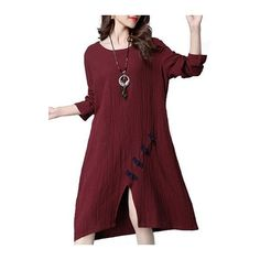 Rotita Slit Design Wine Red Long Sleeve Dress ($30) ❤ liked on Polyvore featuring dresses, wine red, long sleeve knee length dresses, wine dress, long sleeve slit dress, red knee length dress and red slit dress