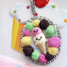 Gimme a Scoop Ice Cream Cameo Necklace Cute Sweets by glamasaurus, $35.00