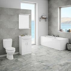 Grauer Boden, Graue Wandfliesen, Schöne Badezimmer, Eine Badewanne In Der  Ecke, Weißes