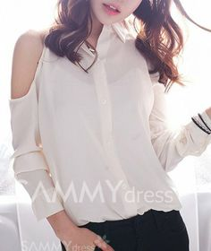 $7.94 Stylish Shirt Collar Off-The-Shoulder Single-Breasted Long Sleeves Loose-Fitting Shirt For Women