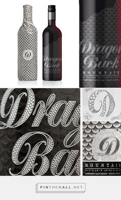 Dragon Back Wine on Behance by Rowan Miller, London UK curated by Packaging Diva PD. Premium wine packaging with beautiful details using direct print and outer wrap. Branding, Packaging, Typography.