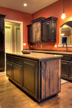 Black Distressed Kitchen Cabinets.... I think this will look great ...