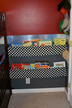 WB Car Themed Bedroom, This is a little boy who loves cars dream rooom.  Book shelves made out of simple dowels, double rod drapery rods, and fabric. Tucked behind the door. , Boys Rooms Design
