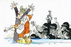 Opp med Henda: Det var høydramatisk da politiet pårgep to julebukker på Norefjell i helgen. Tegning: Tor Kvarv