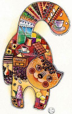 """Café chat"" par Oxana Zaika"