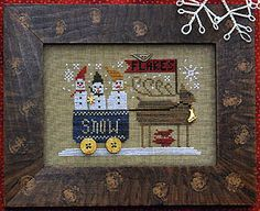 Delivering Snow by Homespun Elegance chart $7.00 on ABC Stitch Therapy at http://www.abcstitch.com/designers_php/designers.php?page=5=Homespun+Elegance=