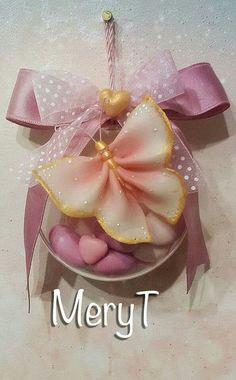 Confettate nascita bambina in pasta di mais, porcelana Fria, cold porcelain