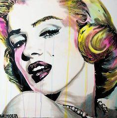 Marilyn Monroe painting by Lamour  | This image first pinned to Marilyn Monroe Art board, here: http://pinterest.com/fairbanksgrafix/marilyn-monroe-art/ || #Art #MarilynMonroe