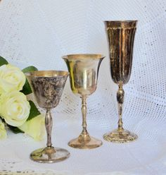 LOT of 3 SILVER GOBLETS French Farmhouse Shabby Chic  Lovely  Shabby Footed  Antique Tarnished Silver Plated Metal Water Goblets Footed Stem by StudioVintage on Etsy