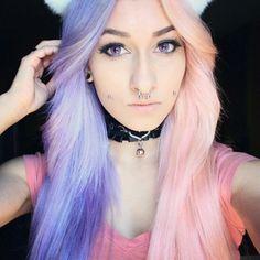 Half purple half pink pastel dyed hair