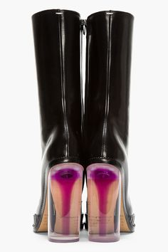 MAISON MARTIN MARGIELA black Leather Illusion Plexi-Heeled Boots