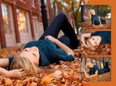 fall senior pictures Love the pose for the middle right one (zoomed in on her face). So pretty!