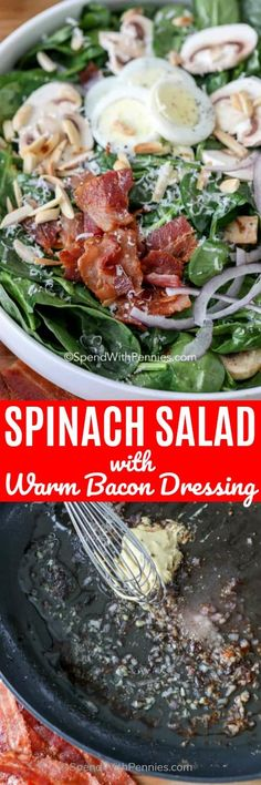 Jun 2019 - Warm spinach salad is a fun twist on a classic spinach salad recipe! Crisp spinach, mushrooms, bacon and parmesan are tossed in a warm dressing made from the bacon drippings! Toss on some toasted almonds and it is complete! Warm Spinach Salads, Bacon Spinach Salad, Spinach Salad Recipes, Easy Salads, Summer Salads, Diet Recipes, Cooking Recipes, Healthy Recipes, Warm Bacon Dressing