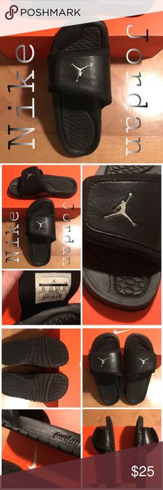 🔳Nike Jordan🔳 Slides/Slip-Ons🔳 Just Like-New Condition‼️🙌👍 Wore around the house a few times! **Sz. 6Y.** My daughter wore these... But I consider them Unisex.:) I don't know what they would be considered in a Boys Sz.? I'm guessing a Sz. 4Y? If anyone knows the conversion... please lmk.:) I could also measure the shoe for you...:) if that would help.:) ▪️NEW LISTING▪️‼️ Jordan Shoes Sandals & Flip Flops