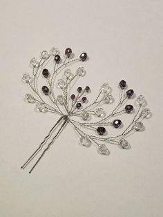 Lavender Crystal small hair pins Hair fork Wedding Rhinestone