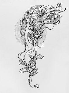 Et Tattoo, Tattoo Drawings, Art Drawings, Tattoo Art, Jagua Henna, Mermaid Tattoos, Mermaid Art, Skin Art, Doodle Art