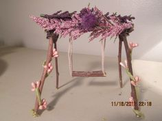 SWING. On my fairy gardens/miniature gardens board. Photo of one of my various fairy garden pieces soon to be on display at my first craft show in Warren MI on 04/27/2013.