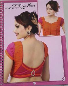 Don't know where to pin this. Love the saree, blouse, jewellery etc. Kalamkari Blouse Designs, Simple Blouse Designs, Saree Blouse Neck Designs, Patch Work Blouse Designs, Designer Blouse Patterns, Sarees, Lehenga, Fashion Blouses, Women's Fashion