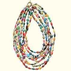 paper bead jewelry - Paper beads - Colar de Contas de jornal - DIY - Reciclagem de papel.