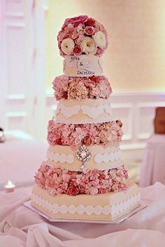 Decorated Cake Featuring White Ranunuculus, Pink Roses and Pink Hydrangeas