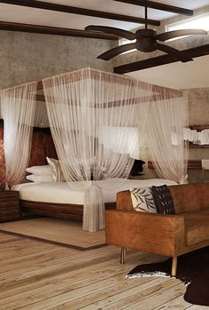 Rhino Lodge in KwaZulu Natal, South Africa has four types of accommodation: two honeymoon bush villas with private plunge pools; eight luxury bush villas with huge open-plan bedrooms, a lounge area, fireplace, minibar, full bathroom and large viewing deck; four safari rooms with a private shower room leading on to a deck area; and two safari family suites ideal for families travelling with children. Timbuktu Travel.