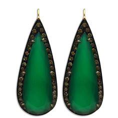Green Onyx Diamond Earrings
