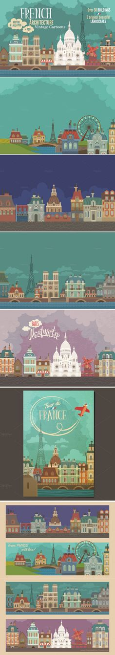 French Architecture Vintage Cartoons #graphics #illustrations #vector #France #buildings drawings of buildings and wallpapers download now➩ https://creativemarket.com/Adiemus/907802-French-Architecture-Vintage-Cartoons?u=Datasata