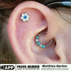 A beautifully healed daith and a healing scapha/ piercing. Featuring minty green,  sapphire blue,  and CZ faceted gemstones.  #safepiercing #appmember