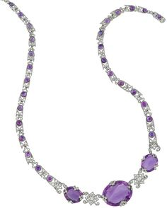 Belle Epoque Platinum, White Gold, Amethyst and Diamond Necklace, France for Sale at Auction on Wed, - - Important Estate Jewelry Purple Jewelry, Purple Necklace, Amethyst Jewelry, Amethyst Necklace, Diamond Pendant Necklace, Titanic Jewelry, Diamond Cuts, Diamond Ice, Necklace Designs
