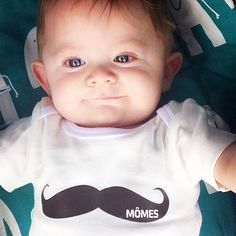 "Georgeous bébé EB rocking our #MÔMES ""classic mo"" onesie from @house.of.frankie  How cute does he look!!! Great way to start #Movember  #classicmo#moustache#houseoffrankie#momes#bebe#baby"