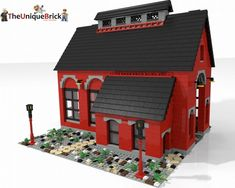 Train Engine Shed (Red): A LEGO® creation by Yoni Levi : MOCpages.com
