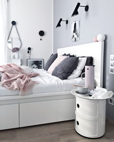 Grey, pink and white bedroom | Cooee vases available at www.istome.co.uk