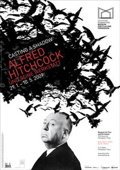 """Poster for Alfred Hitchcock exhibition """"Casting a Shadow"""""""