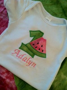Personalized 1st birthday watermelon by FinsFeathersandBows, $18.00