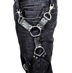 2 O Ring Black Leather Thigh Leg Harness