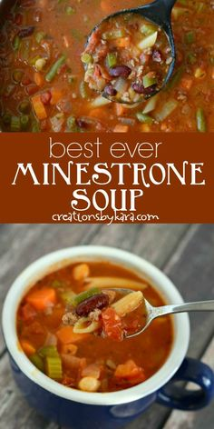 soup recipes With ground beef, beans, veggies, and pasta, this Minestrone Soup recipe is hearty and delicious! I didnt even like minestrone soup till I tried this recipe. Its the best minestrone ever! Ministroni Soup Recipe, Beef Soup Recipes, Healthy Soup Recipes, Ground Beef Recipes, Pot Recipe, Dinner Recipes, Easy Recipes, Chicken Recipes, Vegetable Soup Crock Pot
